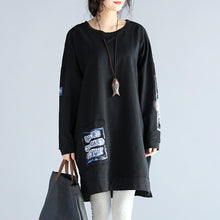 Load image into Gallery viewer, oversize casual autumn black cotton dresses loose prints long sleeve dress