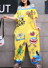 Load image into Gallery viewer, oversize summer women cotton Slash neck jumpsuit pants casual prints short sleeve jumppsuit pants
