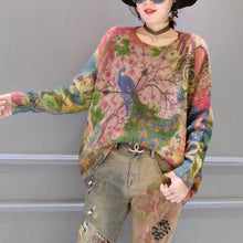Load image into Gallery viewer, oversize vintage prints corduroy sweater thick warm long sleeve knit tops