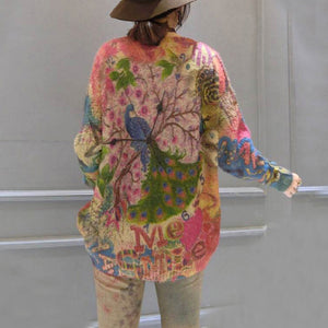 oversize vintage prints corduroy sweater thick warm long sleeve knit tops