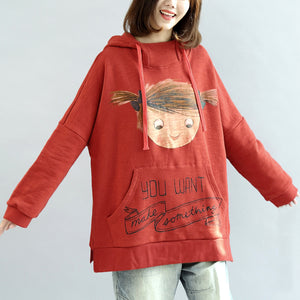 oversized red hoodies casual cotton pullover tops warm winter dress
