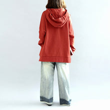 Load image into Gallery viewer, oversized red hoodies casual cotton pullover tops warm winter dress