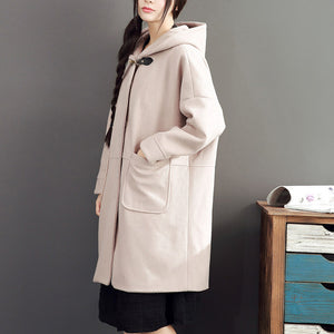pink casual long sleeve long outwear baggy loose hooded solid trench coats