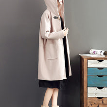 Load image into Gallery viewer, pink casual long sleeve long outwear baggy loose hooded solid trench coats