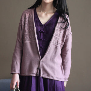pink vintage cotton sweater cardigans long sleeve baggy v neck knit short cardigan outwear