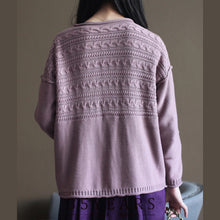 Load image into Gallery viewer, pink vintage cotton sweater cardigans long sleeve baggy v neck knit short cardigan outwear