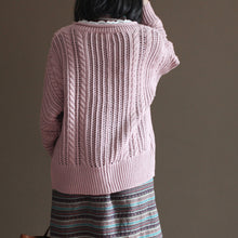 Load image into Gallery viewer, pink vintage cotton sweater tops loose casual lace chunky knit cardigans