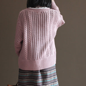 pink vintage cotton sweater tops loose casual lace chunky knit cardigans