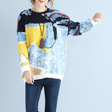 Load image into Gallery viewer, plus size blue print woolen knit tops casual o neck warm sweater