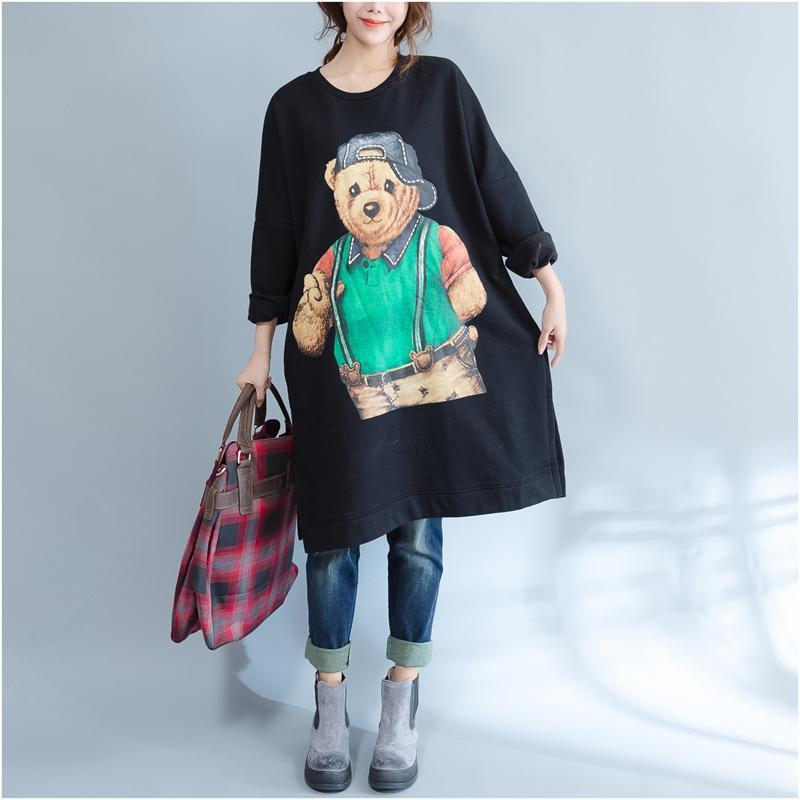 plus size casual black cartoon print cotton dresses long sleeve mid long t pullover