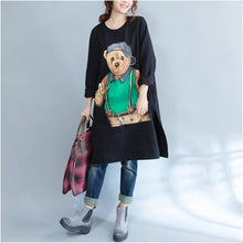 Load image into Gallery viewer, plus size casual black cartoon print cotton dresses long sleeve mid long t pullover