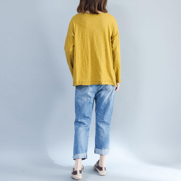 plus size casual cotton  t shirt yellow cozy autumn outfit