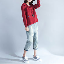 Load image into Gallery viewer, plus size casual cotton t shirt burgundy chunky long sleeve tops