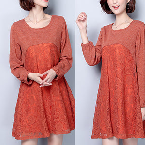 plus size casual dark pink cotton blended dresses patchwork lace o neck elegant women dress