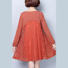 Load image into Gallery viewer, plus size casual dark pink cotton blended dresses patchwork lace o neck elegant women dress