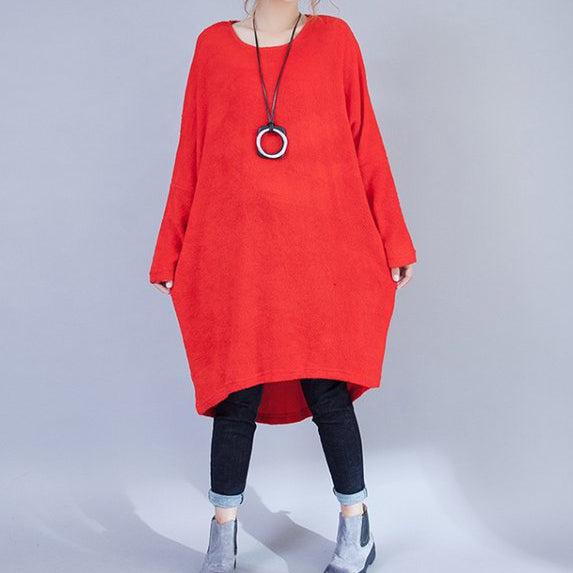 plus size casual woolen dresses red fashion low high sweater dress