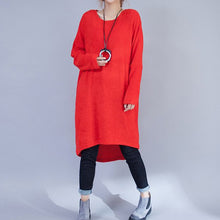 Afbeelding in Gallery-weergave laden, plus size casual woolen dresses red fashion low high sweater dress