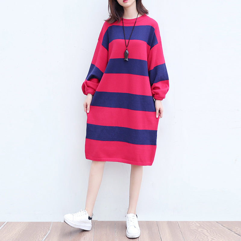 plus size casual woolen knit dresses red blue striped patchwork oversize ling sleeve sweater dress