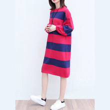 Load image into Gallery viewer, plus size casual woolen knit dresses red blue striped patchwork oversize ling sleeve sweater dress