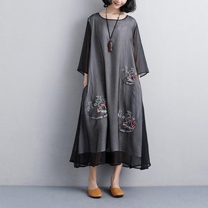 plus size sundress fashion Ethnic casual Embroidery Three Quarter Sleeve Black women Dress