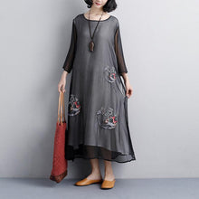 Load image into Gallery viewer, plus size sundress fashion Ethnic casual Embroidery Three Quarter Sleeve Black women Dress
