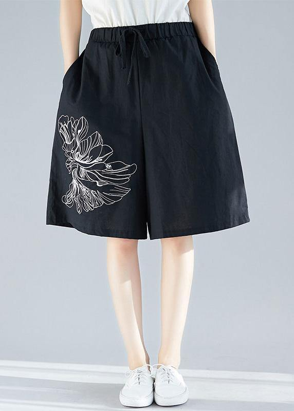 plus size women black cotton blended embroidery shorts