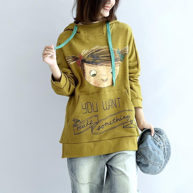 plus size yellow hoodies cotton pullover tops autumn tops pullover