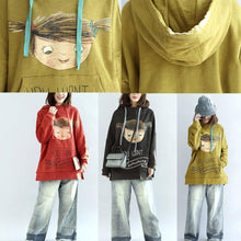Load image into Gallery viewer, plus size yellow hoodies cotton pullover tops autumn tops pullover