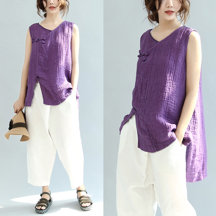 print casual linen tops vintage loose blouse Chinese Button sleeveless t shirt