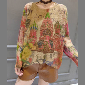 prints wild casual women cotton knit tops plus size o neck unique sweater pullover