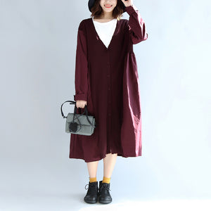 purple casual patchwork silk cotton cardigans oversize long sleeve long outwear