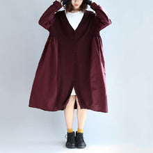 Load image into Gallery viewer, purple red patchwork cotton silk sweater outwear oversize casual knit long coats