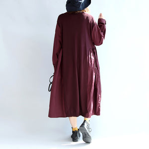 purple red patchwork cotton silk sweater outwear oversize casual knit long coats