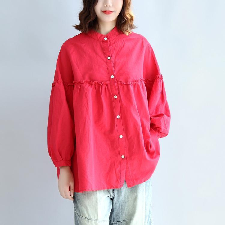 red casual cotton tops