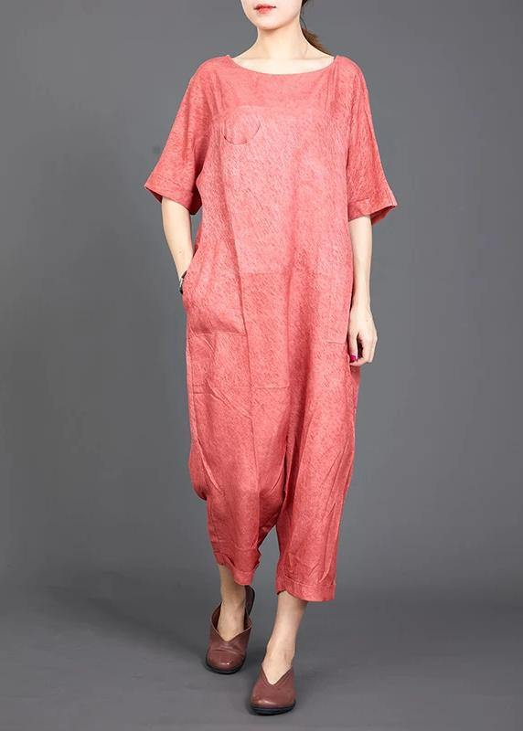 red cotton jumpsuit pants Omychic Solid Color Casual Loose Comfortable Jumpsuit