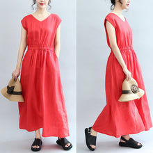 Load image into Gallery viewer, red elastic waist linen dresses loose short sleeve maxi dress