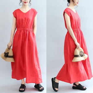 red elastic waist linen dresses loose short sleeve maxi dress