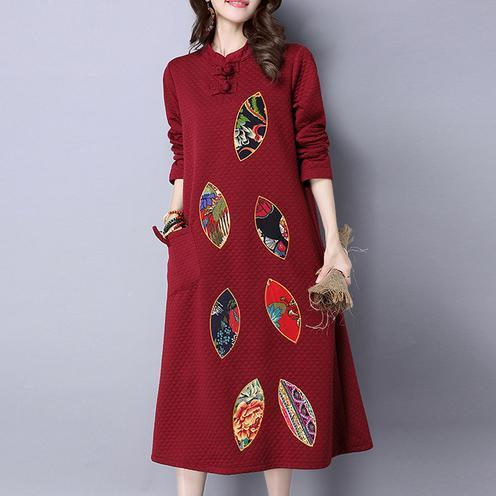 red embroidery vintage cotton women dresses plus size long sleeve maxi warm dress