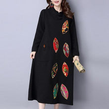 Load image into Gallery viewer, red embroidery vintage cotton women dresses plus size long sleeve maxi warm dress