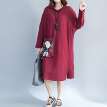 Load image into Gallery viewer, red fashion back prints cotton casual dresses plus size large pockets prints thick shift dress
