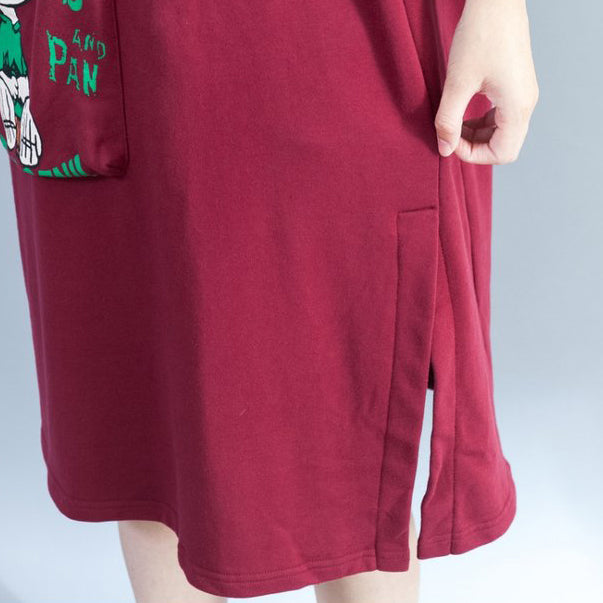 red fashion back prints cotton casual dresses plus size large pockets prints thick shift dress