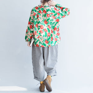 red green floral 2017 linen tops oversize vintage long sleeve t shirt