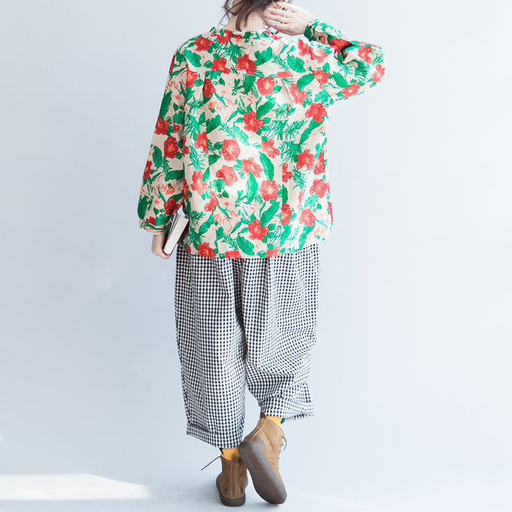 red green floral 2021 linen tops oversize vintage long sleeve t shirt