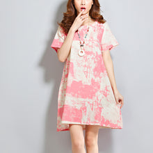 Load image into Gallery viewer, red linen dresses casual linen cotton dress vintage prints o neck short sleeve cotton dress