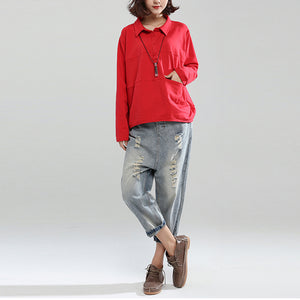 red patchwork cotton shirt pullover oversize long sleeve lapel collar tops