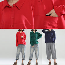 Afbeelding in Gallery-weergave laden, red patchwork cotton shirt pullover oversize long sleeve lapel collar tops