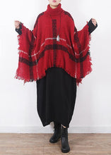 Load image into Gallery viewer, red plaid tassel cloak women casual high neck knit sweater