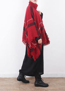 red plaid tassel cloak women casual high neck knit sweater