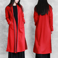 Load image into Gallery viewer, red plus size clothing sweaters pockets side open coats