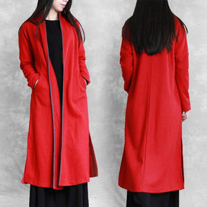 red plus size clothing sweaters pockets side open coats